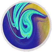 Blue Dance By Jrr Round Beach Towel