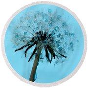 Blue Dandelion Wish Round Beach Towel