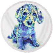 Blue Dapple Dachshund Puppy Round Beach Towel by Jane Schnetlage