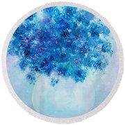 Blue Delphiniums Round Beach Towel