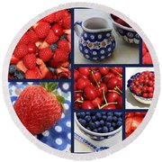 Blue Dishes And Fruit Collage Round Beach Towel