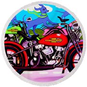 Blue Dogs On Motorcycles - Dawgs On Hawgs Round Beach Towel