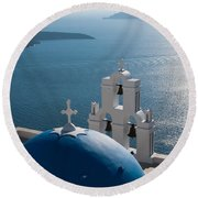 Blue Domed Church In Santorini Greece Round Beach Towel