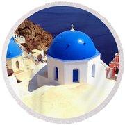 Blue Domes In Santorini Round Beach Towel