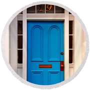 Blue Door 19 Round Beach Towel