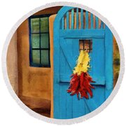 Blue Door And Peppers Round Beach Towel