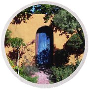 Blue Door At Old Mesilla Round Beach Towel