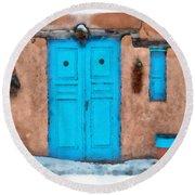 Blue Door Round Beach Towel
