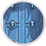 Blue Door Decorated With Wooden Animal Heads Round Beach Towel