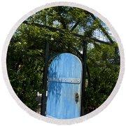 Blue Door To Childrens Garden Huntington Library Round Beach Towel
