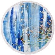 Blue Earth Abstract Round Beach Towel