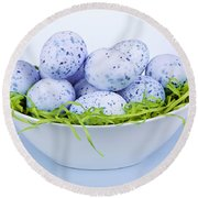 Blue Easter Eggs In Bowl Round Beach Towel