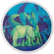 Blue Elephants Round Beach Towel