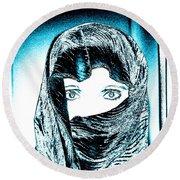Blue Eye Lady Round Beach Towel