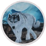 Blue Eyed Husky Round Beach Towel