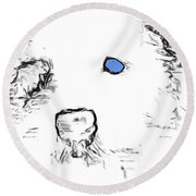 Blue Eyed Pup Round Beach Towel