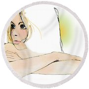 Blue Eyes Round Beach Towel