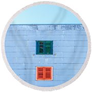 Blue Facade And Colorful Windows Round Beach Towel