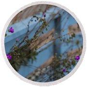 Blue Fence Purple Flowers Round Beach Towel