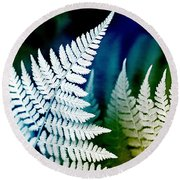 Blue Fern Leaf Art Round Beach Towel