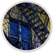 Blue Fire Escape Round Beach Towel