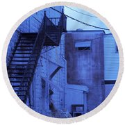 Blue Fire Escape Usa Near Infrared Round Beach Towel