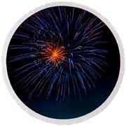 Blue Firework Flower Round Beach Towel by Robert Bales