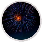 Blue Firework Flower Round Beach Towel
