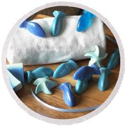 Blue Fish Mini Soap Round Beach Towel