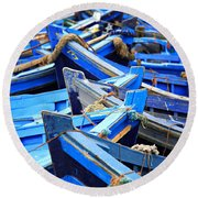Blue Fishing Boats Round Beach Towel
