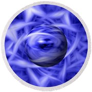 Blue Flame Background Round Beach Towel