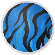 Blue Flames Of Healing Round Beach Towel
