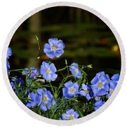 Blue Flax By The Pond Round Beach Towel