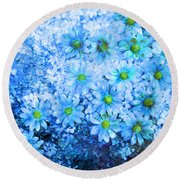 Blue Floral Fantasy Round Beach Towel