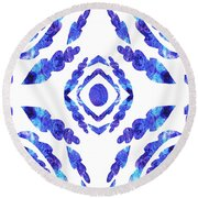 Blue Floral Pattern II Round Beach Towel
