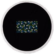 Blue Flowers Round Beach Towel