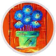 Blue Flowers On Orange Round Beach Towel