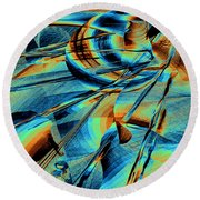 Blue Flowpaper Solarized Round Beach Towel