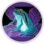 Blue Frog Purple Flower Round Beach Towel