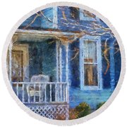 Blue Front Porch Photo Art 01 Round Beach Towel
