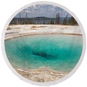 Blue Funnel Spring In West Thumb Geyser Basin Round Beach Towel