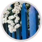 Blue Garden Fence With White Flowers Round Beach Towel