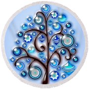 Blue Glass Ornaments Round Beach Towel