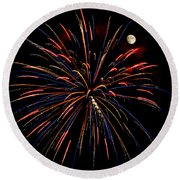 Blue Gold Pink And More - Fireworks And Moon Round Beach Towel