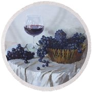 Blue Grapes And Wine Round Beach Towel by Ylli Haruni
