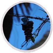 Blue Grapes Round Beach Towel