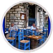 Blue Greek Taverna Round Beach Towel