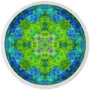 Blue Green Mandala Round Beach Towel