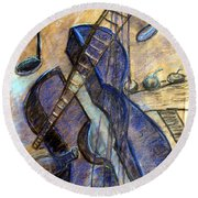 Blue Guitar - About Pablo Picasso Round Beach Towel