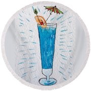 Blue Hawaiian Cocktail Round Beach Towel